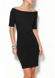 Šaty s odhalenými ramenami #ModinoSK #LBD Total Black, Lbd, Bodycon Dress, Dresses For Work, Ideas, Fashion, Dress Outfits, Black Gowns, Dresses With Sleeves