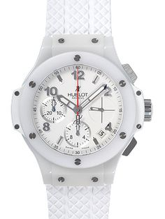Hublot Aspen White Dial Rubber Automatic Mens Watch 342.CH.230.RW. Ceramic case with a white rubber strap. Fixed bezel. White dial with skeleton hands and alternating Arabic and index hour markers. Minute markers around the outer rim. Dial Type: Analog. Date display between 4 and 5 o'clock position.  $11,360.00  #Hublot #LuxuryWatch