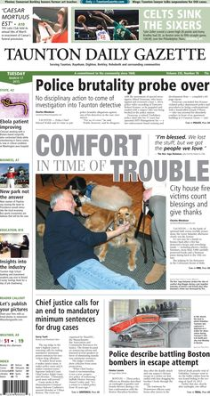 The front page of the Taunton Daily Gazette for Tuesday, March 17, 2015.