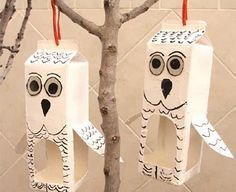 Recycled Milk Carton Bird Feeder Shaped Like An Owl!