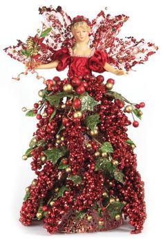"16"" Beautiful Tree Topper Mantel Berry Angel - Red A01664. Color: Red. Height: 16"". Hand painted face and hair. Pose-able arms. Plastic cone under skirt, perfect for treetop placement, mantel or table centerpiece."