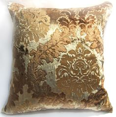 Wa02A Brown Gold Print Damask Velvet Cushion Cover/Pillow Case Custom Size