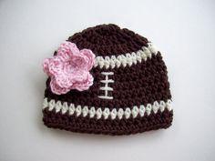 Crochet Baby Hat - Baby Girl Football Hat - Football Beanie - Baby Newborn Hat - Baby Girl - Beanie - Photo Prop - Ready to Ship - Newborn