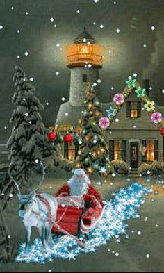 Christmas lights Holidays at a Lighthouse Merry Christmas Gif, Christmas Scenes, Christmas Past, Merry Christmas And Happy New Year, Vintage Christmas Cards, Christmas Pictures, Winter Christmas, Christmas Lights, Christmas Decorations