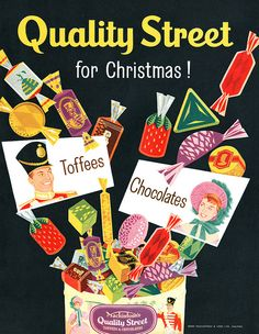 Mackintosh's Quality Street - a Christmastime time must! #1950s #vintage #Christmas #ads