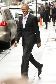 All smiles: Barack has been in New York twice over the past three weeks as he closed his b...