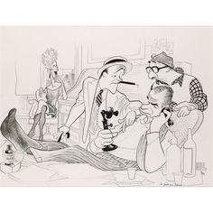 Al Hirschfeld pen & ink drawing of Jack Lemmon, Walter Matthau, Billy Wilder, and Carol Burnett