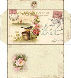 French vintage style envelope No 3 - PRINTABLE - digital collage sheet - set of… Vintage Ephemera, Vintage Cards, Vintage Paper, Journal Paper, Junk Journal, Paper Art, Paper Crafts, Diy Envelope, Envelope Templates