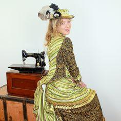 GARDEN GLITZ II - Victorian Costume (2) Victorian Costume, Steampunk Costume, Neo Victorian, Vintage Gowns, Captain Hat, Sewing Projects, Quilting, Gardens, Inspire