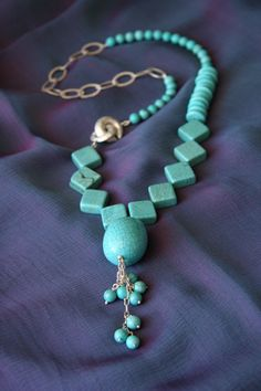 'Tropical Summer' necklace - turqoise beads, howlite, crystal beads and sterling silver.