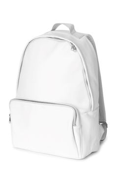 The Lean Backpack has a big and voluminous shape, a square-shaped front pocket and a hidden two-way zipper at the opening. It has padded nylon straps with adjustable metal buckles at back and is made from a white leather imitation with a matte finish. - Dimensions 44 cm x 30 cm x 15 cm.