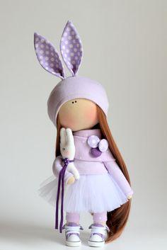 Muñeca de conejo hecho a mano linda muñeca por AnnKirillartPlace