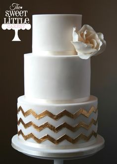 gold chevron wedding cake - Cake by thesweetlittlecakery