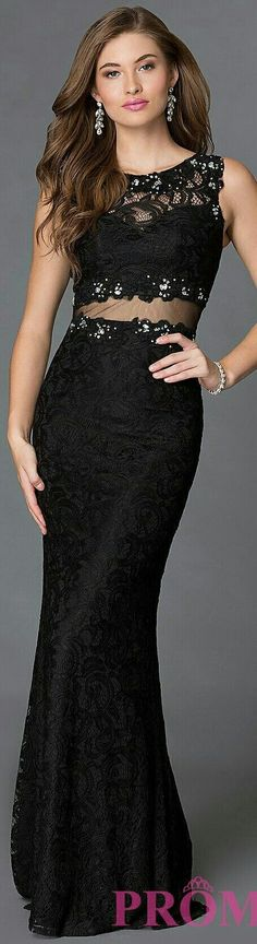 34ed1c5e27cf9 ❤Mock Black 2-Piece Prom Dress x promgirl.com w. Mermaid-Style Skirt &  Halter Top Made from Chiffon Lace Material & Scant Beading #DQ-9040 ❤