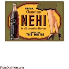 Nehi Lady Tin Sign by Ande Rooney. Measures 15 x 10 1/2. $12.75