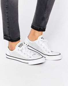 Converse All Star Chuck Taylor Perforated Canvas Ox White Plimsoll Sneakers 53dddbbf6c287