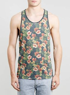 BLUE FLORAL TROPICAL CLASSIC FIT VEST