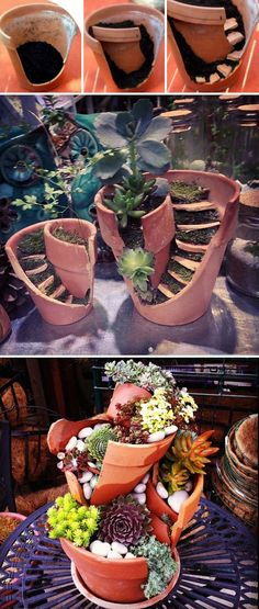 He turned broken pots into fairy houses. He turned broken pots into fairy houses. Small Succulents, Succulent Pots, Planting Succulents, Plant Pots, Succulent Ideas, Garden Crafts, Garden Projects, Fall Projects, Diy Projects