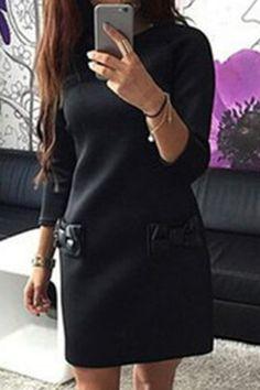 Sweet Jewel Neck Long Sleeve Bowknot Spliced Bodycon Dress For Women