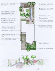 Landscape master plan with accompanying perspective. Garden Design Plans, Landscape Design Plans, Landscape Architecture, Landscape Sketch, Landscape Drawings, Residential Landscaping, Landscaping Plants, Narrow Garden, Color Plan