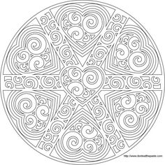 swirled heart mandala to print and color- also available as a transparent PNG