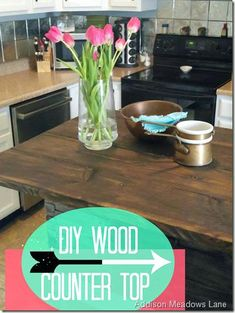 Diy kitchen projects budget wood countertops Ideas for 2019 Diy Wood Counters, Butcher Block Countertops, Wood Countertops, Butcher Blocks, New Kitchen, Kitchen Decor, Kitchen Ideas, Diy Kitchen Projects, Houses