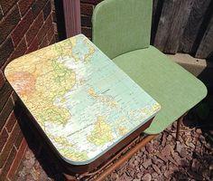 Van Lu Style Refurbished Vintage Desk MCM 1950's Metal Gossip Bench or Telephone Table
