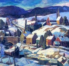Fern Isabel Coppedge - Hillside Village - Original Size - 38 x 40 - 1932 - Bucks County Painting Paintings I Love, Seascape Paintings, Awesome Paintings, Landscape Art, Landscape Paintings, Landscapes, Kitsch, American Impressionism, Winter Painting