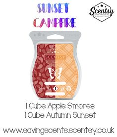 Scentsy UK: Combine one cube of Apple S'mores + one cube of Autumn Sunset to create the scent Sunset Campfire. Want your home to smell this amazing? Vist my website now!
