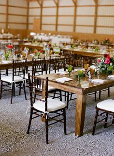 Summer Wedding at Goshen Crest Farm, Barn Reception, Farm Tables, Colored Glassware, Copyright Whitney Neal Photography