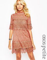 ASOS PETITE Washed Swing Dress with 3D Lace