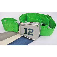 "Show your Seattle pride with the No. 12 jet belt!  This unique belt features a real airline belt buckle with a blue 12 outlined in green and a bright green seat belt.  This one size SkyBelt is completely adjustable up to 46"" and is made in the USA."