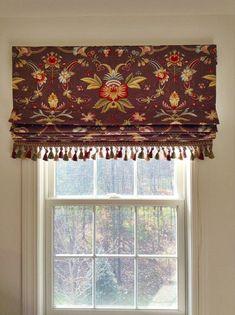 Custom Roman Shade Window Treatment with Tassel Trim | Designer Quality