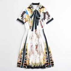 Högkvalitativa kvinna klänningar Sommar Runway Fashion Slå ner kragen  Kortärmad tryckning Vintage Mid Calf Sommarklänning Elegant c7202f54c7cb3