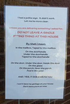 No soliciting sign: I had a polite sign, now I have this one.