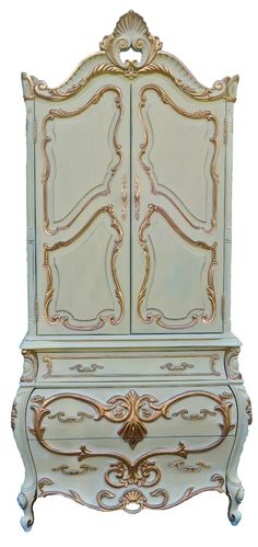 Sold to Lucy - Hollywood Regency French Provincial Chest of Drawers Armoire Cabinet chic chifferobe ROCOCO Louis XVI