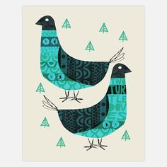 2 Turtle Doves Print - By Methane Studios (via Fab)