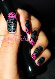 Oooooo black base matte tiger nails with pink leopard print tips Fabulous Nails, Gorgeous Nails, Pretty Nails, Garra, Hot Nails, Hair And Nails, Nail Art Blog, Fancy Nails, Cute Nail Designs
