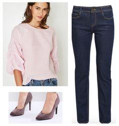 Tenue avec une blouse rose romantique