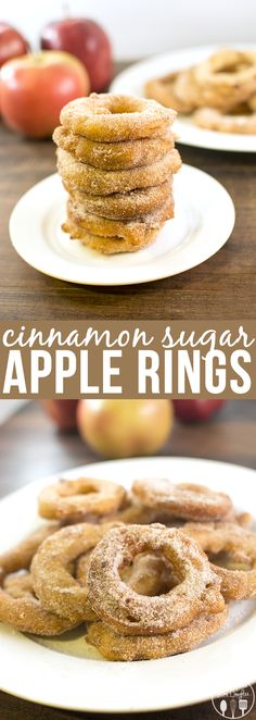 Cinnamon Sugar Fried Apple Rings - these delicious apple rings are coated in a sweet batter then dipped in cinnamon sugar for an amazing treat! -add caramel before you dip in the batter & fry! Fruit Recipes, Apple Recipes, Fall Recipes, Sweet Recipes, Dessert Recipes, Cooking Recipes, Cooking Steak, Yummy Treats, Sweet Treats
