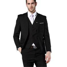 >> Click to Buy << Men Suits Notched Lapel Wedding Suits For Men Two button groom Tuxedos Groomsmen suits two piece Suit (Jacket+Pants+vest) #Affiliate