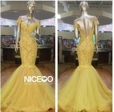Yellow Trumpet Mermaid V Neck Floor Length Tulle prom dresses with Lace Form http://www.niceoo.com/products/16617702-yellow-trumpet-mermaid-v-neck-floor-length-tulle-prom-dresses-with-lace