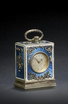 A very fine French Belle Époque enameled silver gilt minute repeating miniature boudoir timepiece, Signed by LaCloche Frères, Paris, case with French lozenge maker's mark MB, circa 1910