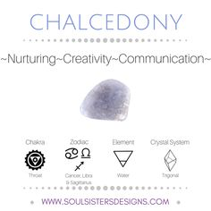Metaphysical Healing Properties of Chalcedony, including associated Chakra, Zodiac and Element, along with Crystal System/Lattice to assist you in setting up a Crystal Grid. Go to https:/soulsistersdesigns.com to learn more!
