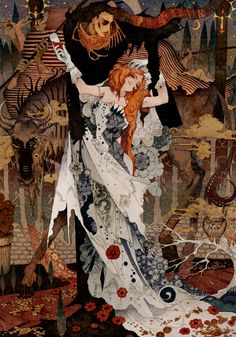 "Japanese artist ""Flame.""  These works honorably show their respect to early 20th Century illustrator Harry Clarke but Flame's own personal influence of Manga and other contemporary inventions completely brings forth a new sense of wonderment as well as visceral landscapes to explore for any viewer."