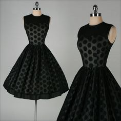 1950's Black Chiffon Polka Dot Dress -
