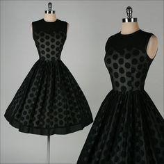 1950's Black Chiffon Polka Dot Dress....LOVE