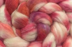 Hand Dyed BFL/Tussah Combed Top in Blush 4oz by AliCatFiberarts