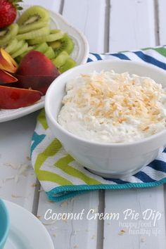 This sweet COCONUT CREAM PIE DIP is such a delightful treat for dipping your fruit, cookies, or even just a spoon! It is sure to remind you of your favorite coconut cream pie, but with this recipe, it comes together in just minutes. | www.happyfoodhealthylife.com