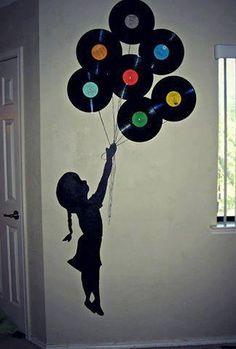 Ótima ideia de decoração com discos de vinil